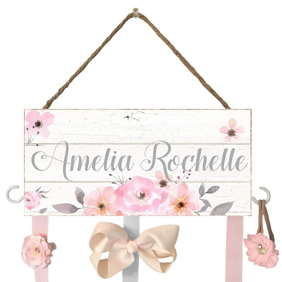 Personalised Wooden Letter Glitter Hair Bow Holder hair Accessories Gifts